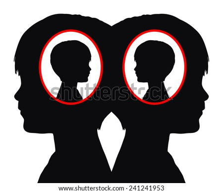 Identical Twins. Concept sign of twin boys sharing the same genes - stock photo