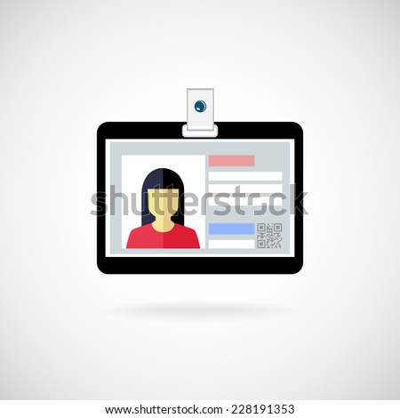 Identification card icon. Illustration. Lanyard visitor - stock photo