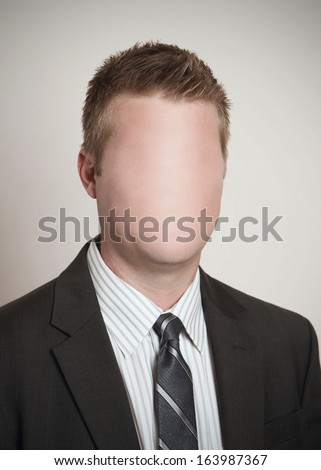 Identity concept businessman with blank anonymous face  - stock photo