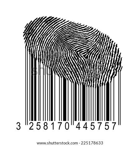 identity concept illustration, human fingerprint with product bar code  - stock photo