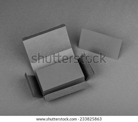 identity design, corporate templates, company style, blank business cards on a gray background - stock photo