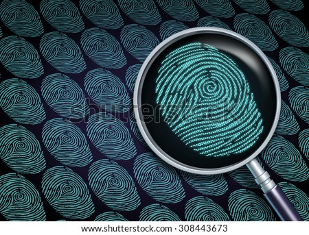 Identity search concept or choosing the right employee as a recruitment and human resource symbol with a magnifying glass close up of a finger print or fingerprint as a security technology metaphor. - stock photo