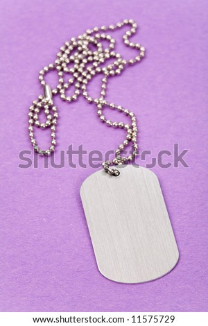 Identity tag with chain close up shot - stock photo