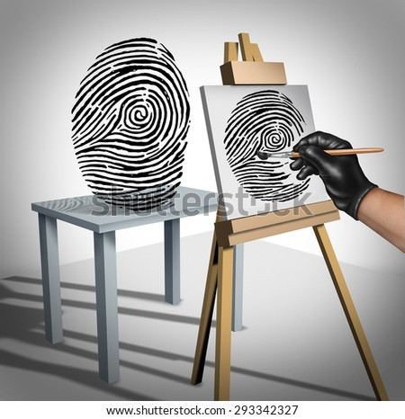 Identity theft concept as a criminal painting a copy of a fingerprint  as a security symbol for ID protection and protecting private data on the internet or personal servers. - stock photo
