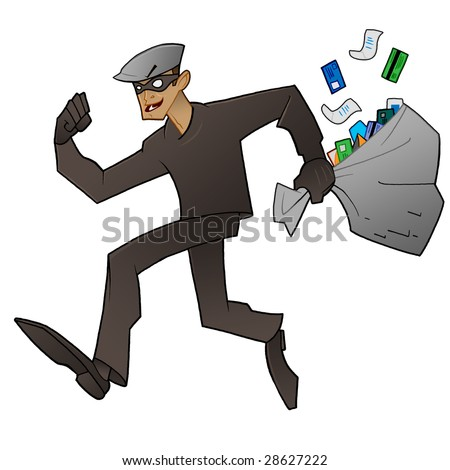Identity Theft in Progress Thief running away with a sackful of credit cards and personal information - stock photo