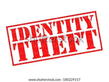 IDENTITY THEFT red Rubber Stamp over a white background. - stock photo