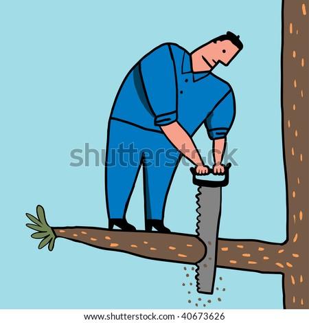 idiot saws branch - stock photo
