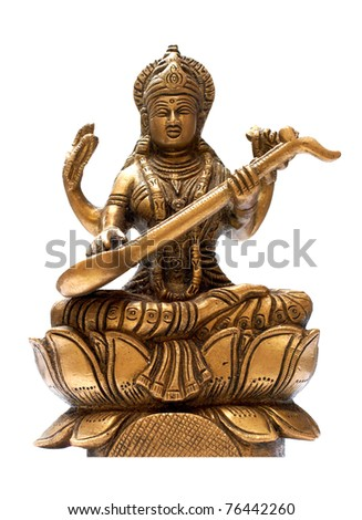 Idol of lord Krishna isolated over a white background - stock photo