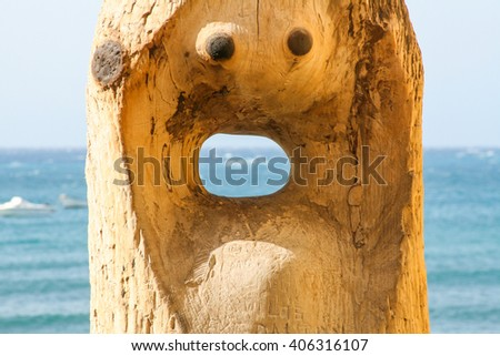 Idol of the wind on the ocean beach of Canary Islands - stock photo