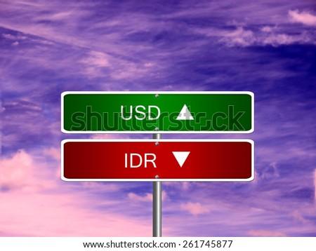 IDR USD Indonesia indonesian rupiah US dollar symbol currency money. - stock photo