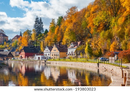 Idyllic autumnal life in Cesky Krumlov, Czech Republic - stock photo