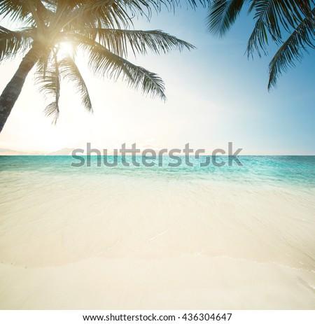 Idyllic beach and sea, tropical summer - stock photo