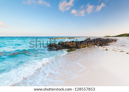 Idyllic beach of Caribbean Sea in Mexico - stock photo