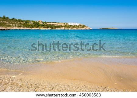 Idyllic beach on the peninsula of Akrotiri on Crete island. Greece. - stock photo