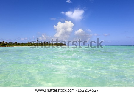 Idyllic beautiful beach in Riviera Maya, Mexico - stock photo