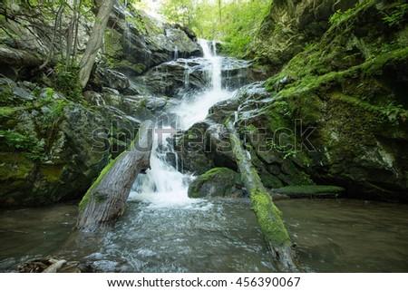 idyllic forest waterfall in Shenandoah National Park, Virginia, USA - stock photo