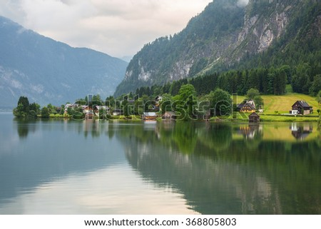 Idyllic Grundlsee lake in Alps mountains, Austria - stock photo