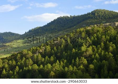 Idyllic landscape in Teruel province, aragon, Spain. - stock photo