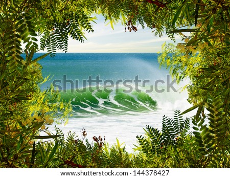 Idyllic landscape of a perfect surfing wave framed with green vegetation - stock photo