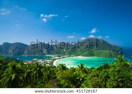 Idyllic Panorama Palm Island  - stock photo