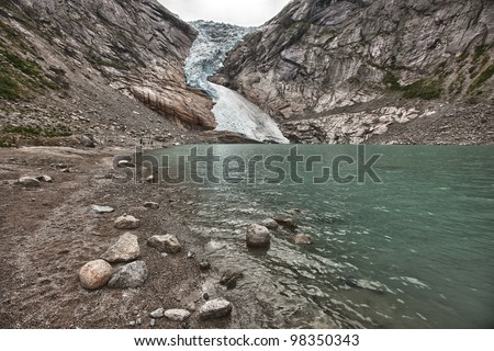 Idyllic picture of glacier Jostedalsbreen, Norway, Europe, HDR - stock photo