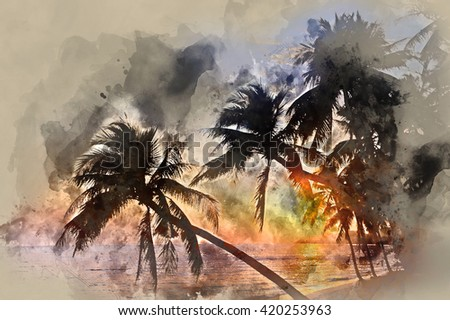Idyllic scene of palm trees near the sea at sunset. Digital watercolor painting. Thailand, Samui island - stock photo