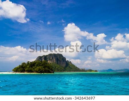 Idyllic Seascape Green Pinnacle  - stock photo