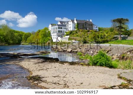 Idyllic summer scenery of river in Ennistymon, Co. Clare - Ireland - stock photo