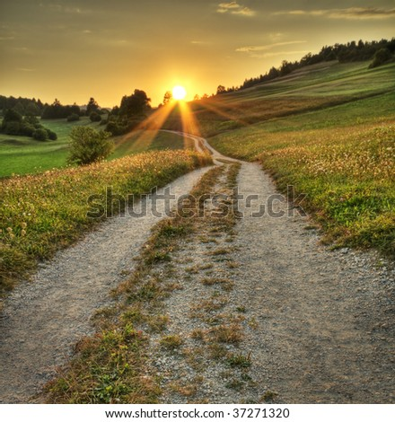 Idyllic sunset on dusty road in countryside - stock photo