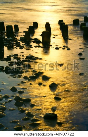 Idyllic sunset scene - stock photo