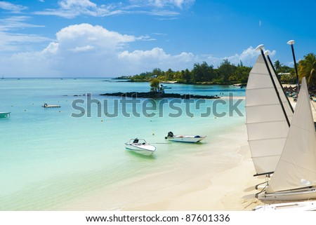 Idyllic tropical beach in the paradise island of Mauritius - stock photo