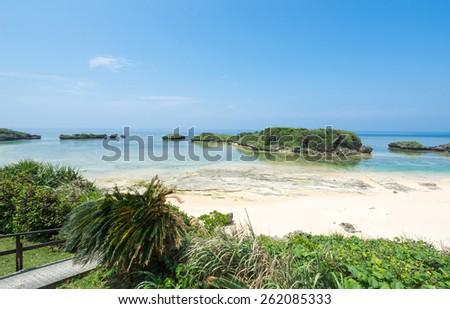 Idyllic tropical beach paradise lagoon of Okinawa - stock photo
