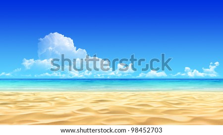 Idyllic tropical sand beach background. No noise, clean, extremely detailed 3d render. Concept for rest, relaxation, holidays, spa, resort design. - stock photo