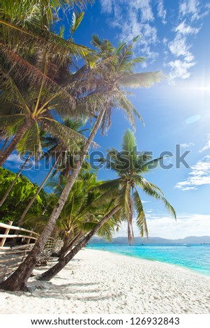Idyllic tropical scene, Philippines, Boracay island - stock photo