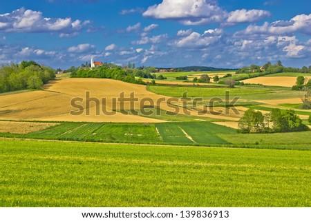 Idyllic village on green hill, Prigorje region, Croatia - stock photo