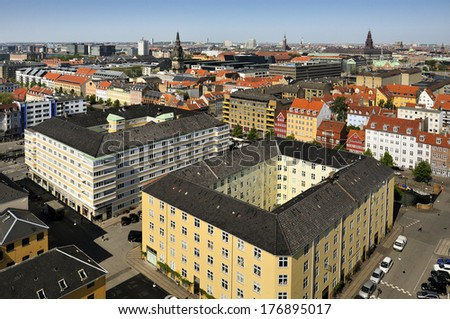iew from the roof of The Church of Our Saviour in Copenhagen, Denmark  - stock photo