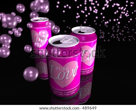 If love could be packaged and sold, then maybe this is how it would look. A 3D generated image of some canned love. - stock photo