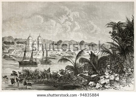 Igarape-Miri old view, Brazil. Created by Riou, published on Le Tour du Monde, Paris, 1867 - stock photo