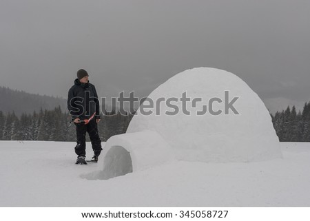 igloo building in the high mountain - stock photo