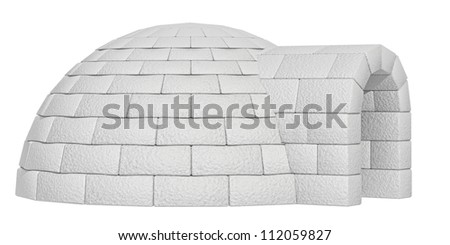 igloo on a white background - stock photo