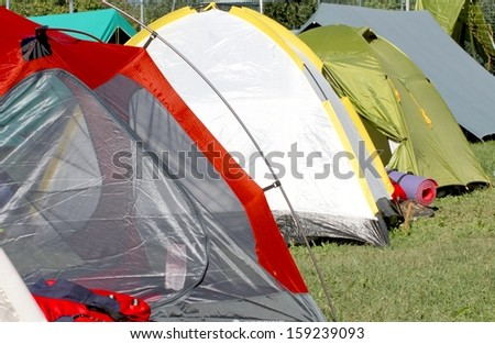 igloo tents where sleep the kids and people sheltered from weather - stock photo