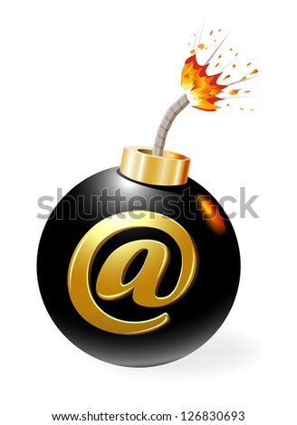 Ignited bomb with at-symbol - stock photo