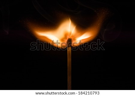 Igniting Match / Igniting match at the moment it explodes into life - stock photo