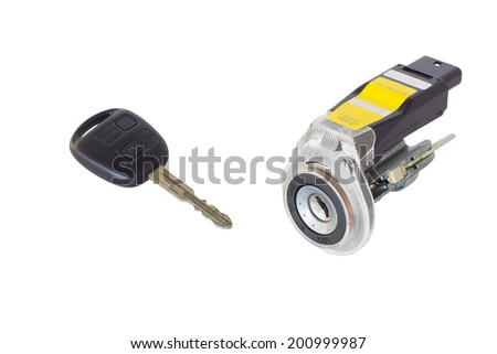 ignition lock with key on a white background - stock photo