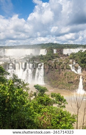 Iguacu (Iguazu) falls on a border of Brazil and Argentina - stock photo