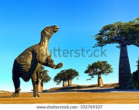 Iguanodon standing on hind legs in jurassic desert - stock photo