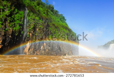 Iguassu Falls, the largest series of waterfalls of the world, located at the Brazilian and Argentinian border, View from Argentinian side - stock photo
