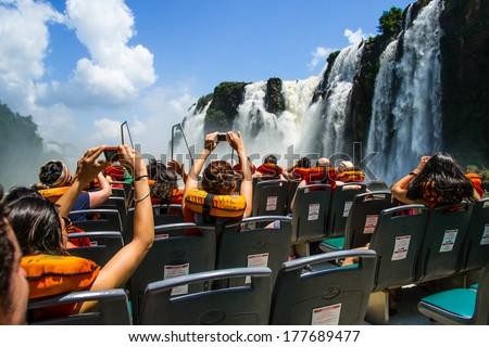 Iguaza Falls Argentina side. - stock photo