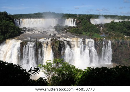 Iguazu falls in border between brazil and Argentine - stock photo