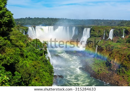Iguazu Falls, on the border of Brazil, Argentina, and Paraguay.  - stock photo